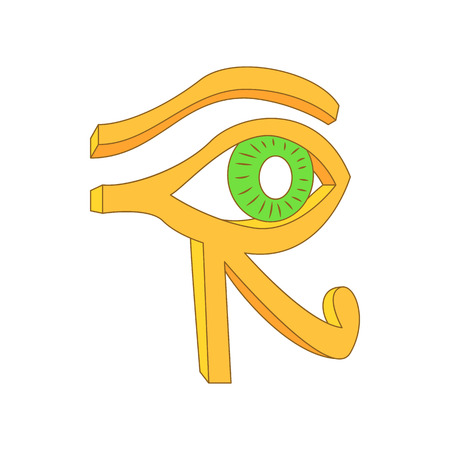 evil eye: Eye of Horus icon in cartoon style on a white background