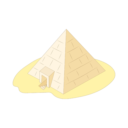 Pyramid of Giza, Egypt icon in cartoon style on a white background Illustration