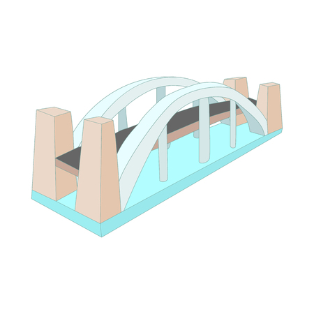 autobahn: Bridge over river icon in cartoon style isolated on white background. Structure symbol