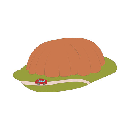 goes: Car goes around mountain icon in cartoon style isolated on white background. Road and travel symbol