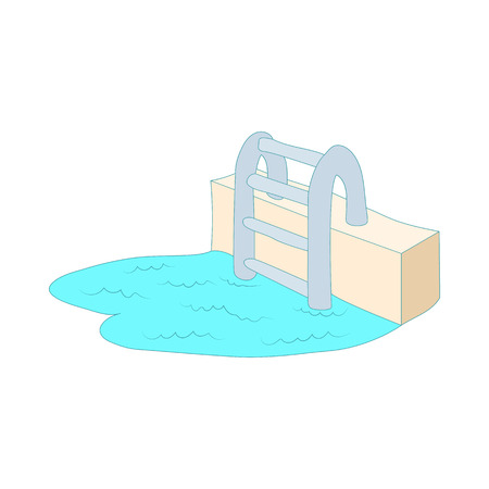 pool symbol: Swimming pool ladder icon in cartoon style isolated on white background. Pool symbol