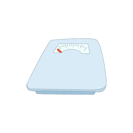 calibrate: Mechanical scales icon in cartoon style isolated on white background. Device for weighing symbol