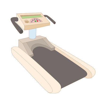 vigor: Treadmill icon in cartoon style isolated on white background. Simulators symbol