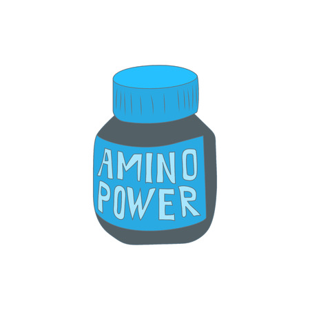 acids: Amino acids icon in cartoon style isolated on white background. Supplement symbol