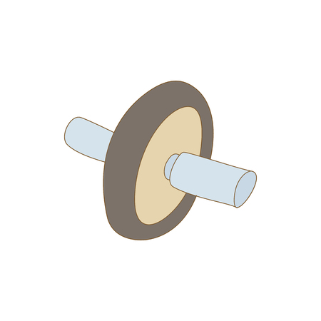 Roller press icon in cartoon style isolated on white background. Training and fitness symbol Vetores