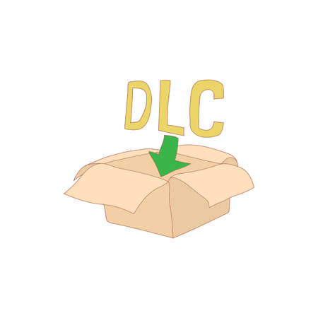 downloadable: Downloadable legal content icon in cartoon style isolated on white background. Game symbol