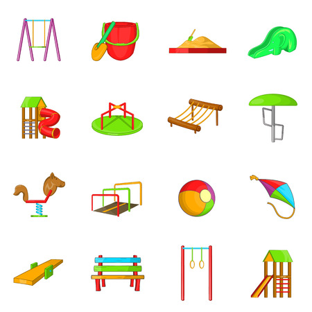 sandpit: Playground icons set in cartoon style isolated on white background