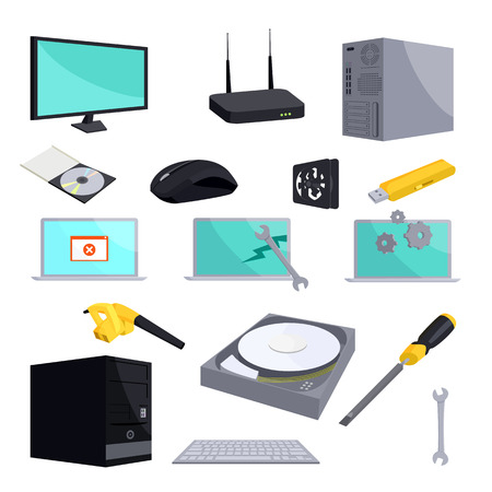 computer repair: Computer repair icons set in cartoon style isolated on white background