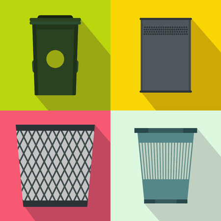 jammed: Trash bin garbage banners set in flat style for any design Illustration