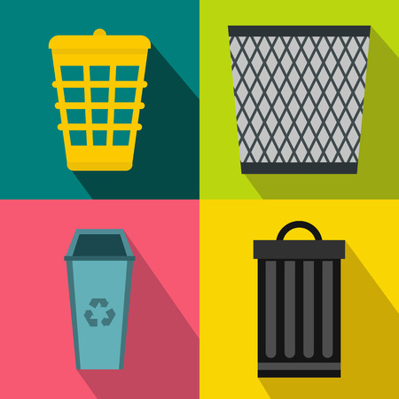 environmental suit: Trash bin garbage banners set in flat style for any design Illustration