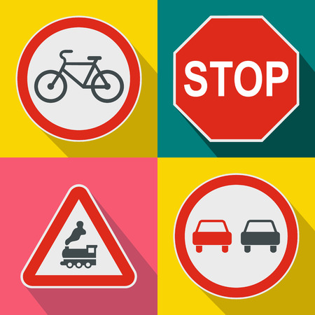 multiple lane highway: Road Sign banners set in flat style for any design Illustration