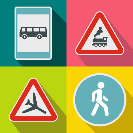 Road Sign banners set in flat style for any design Illustration