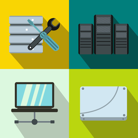 cylinder lock: Database banners set in flat style for any design