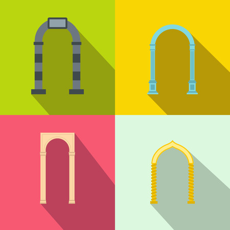 architectural styles: Arch banner set in flat style for any design
