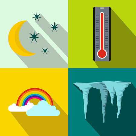 windy day: Weather banners set in flat style for any design
