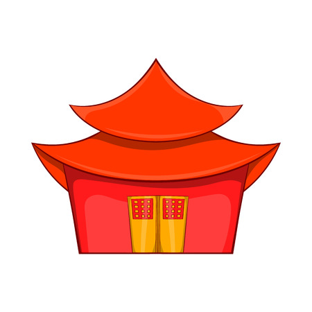 Chinese pagoda icon in cartoon style on a white background
