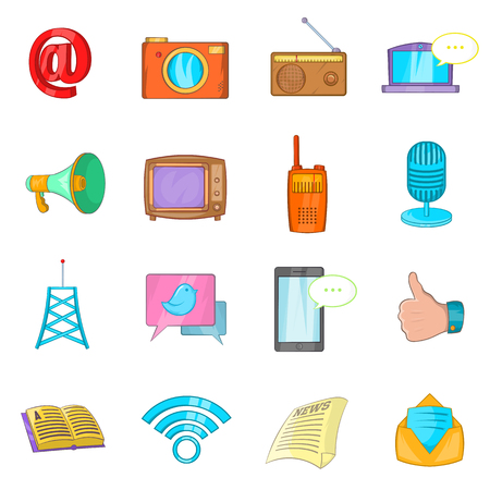 sms payment: Communication icons set in cartoon style isolated on white background Illustration