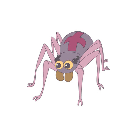cobwebby: Spider icon in cartoon style on a white background Illustration