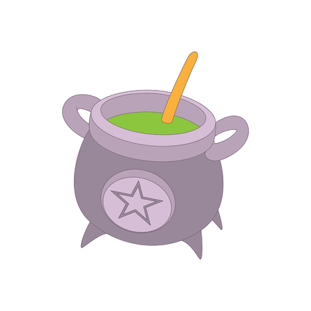 decoction: Witch cauldron with green potion icon in cartoon style on a white background Illustration