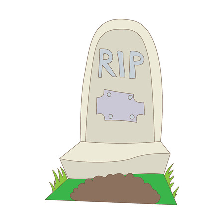 rip: Tombstone with RIP icon in cartoon style on a white background