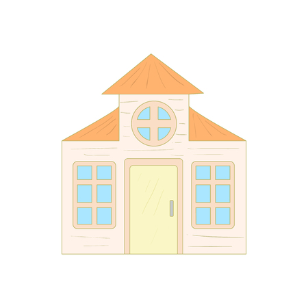 mansard: House with a mansard icon in cartoon style on a white background