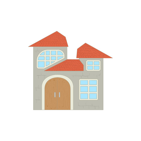 two storey: Two storey house icon in cartoon style on a white background