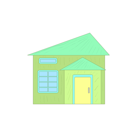 single dwellings: Green small cottage icon in cartoon style on a white background