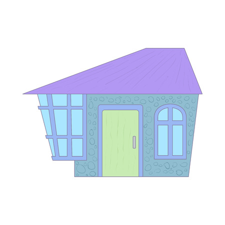 cottage: Blue cottage icon in cartoon style on a white background Illustration