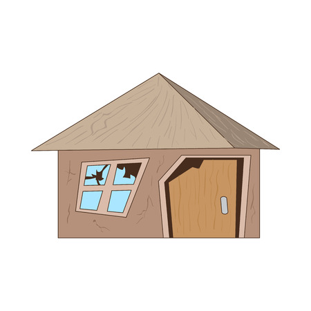 destroyed: Old destroyed house icon in cartoon style on a white background Illustration