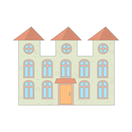 two storey: Two storey house with arched windows icon in cartoon style on a white background Illustration
