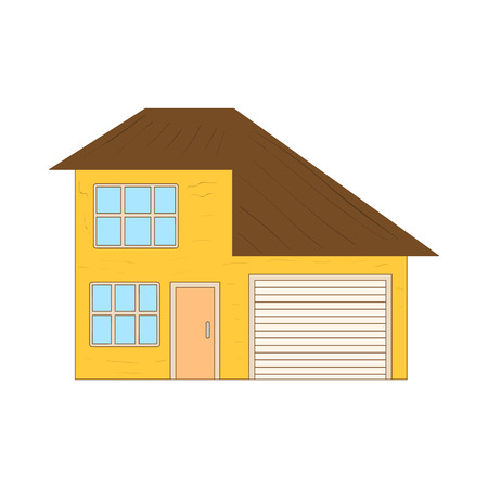 two storey: Yellow two storey house with garage icon in cartoon style on a white background