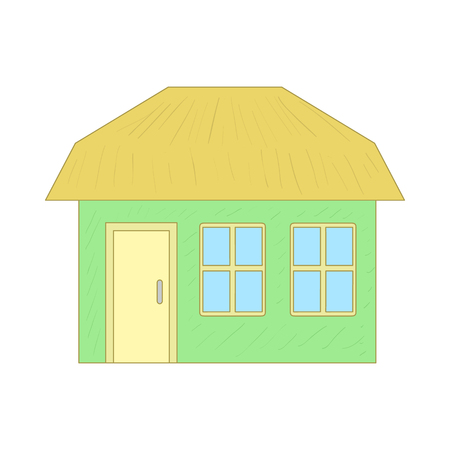 suburban street: Green cottage icon in cartoon style on a white background