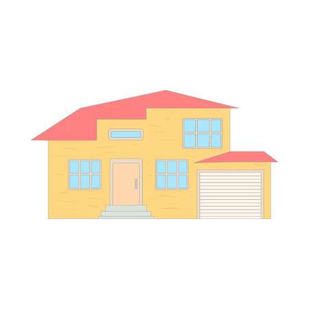 two storey: Two storey house with a garage icon in cartoon style on a white background