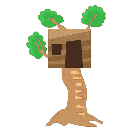 small tree: Small tree house icon in cartoon style on a white background