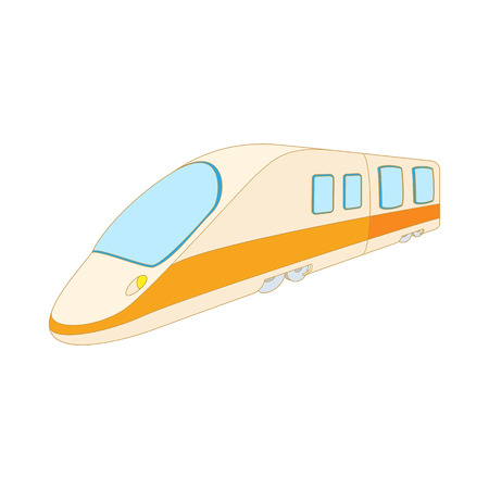 commuter: Modern high speed passenger commuter train icon in cartoon style on a white background Illustration