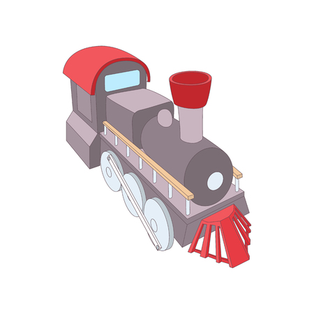 monorail: Old steam locomotive icon in cartoon style on a white background Illustration