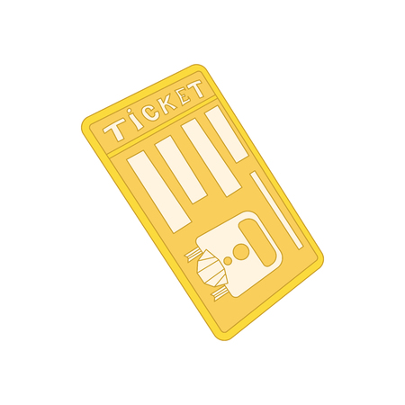 train ticket: Train ticket icon in cartoon style on a white background