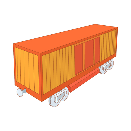 boxcar: Railway cargo container icon in cartoon style on a white background
