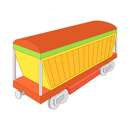 boxcar: Covered freight wagon icon in cartoon style on a white background