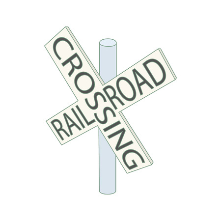railroad crossing: Railroad crossing sign icon in cartoon style on a white background Illustration