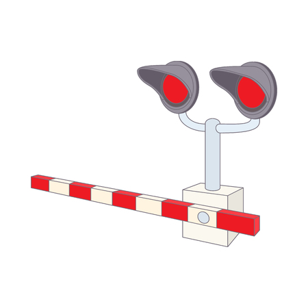 railroad crossing: Railroad crossing icon in cartoon style on a white background