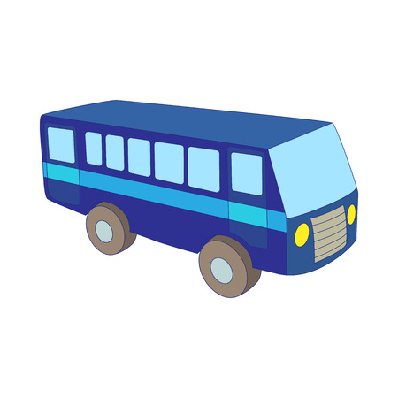 luggage carrier: Blue bus icon in cartoon style on a white background