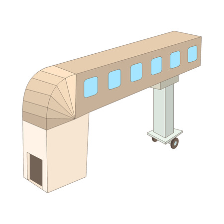 airport cartoon: Jet bridge icon in cartoon style on a white background Illustration