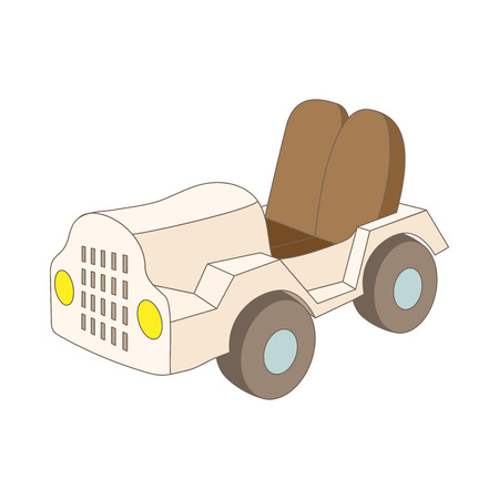 cabin attendant: Car at the airoport icon in cartoon style on a white background