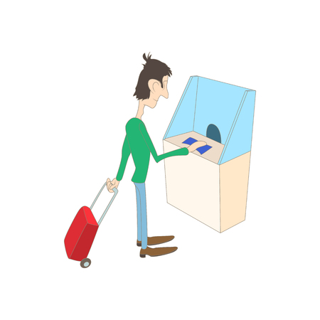 ticket office: Man buys a ticket in the ticket office icon in cartoon style on a white background