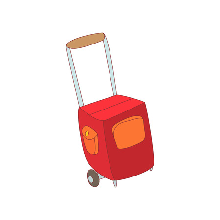 Red travel suitcase icon in cartoon style on a white background Illustration