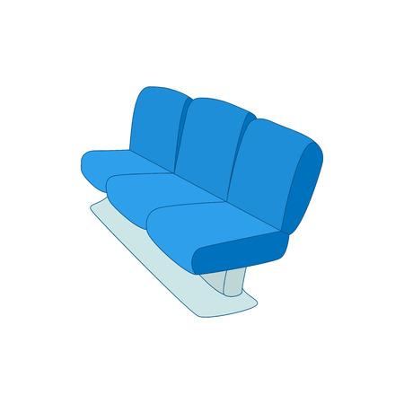 avion caricatura: Icono azul de los asientos del aeropuerto en el estilo de dibujos animados sobre un fondo blanco