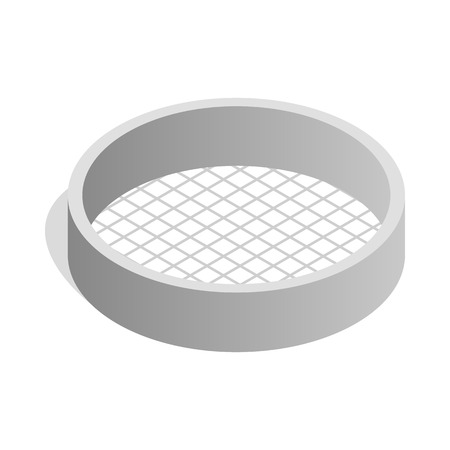 sifting: Sieve icon in isometric 3d style isolated on white background. Baking tools symbol