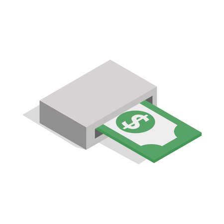 output: Output of banknotes from atm icon in isometric 3d style isolated on white background. Money symbol Illustration