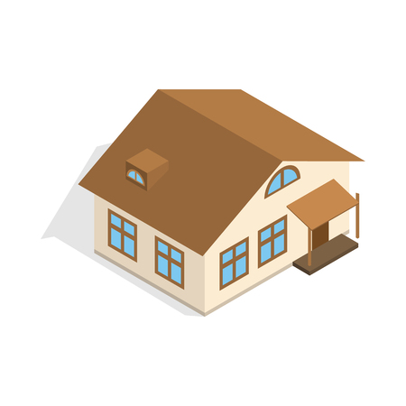 porch: One storey house with porch icon in isometric 3d style isolated on white background. Construction symbol